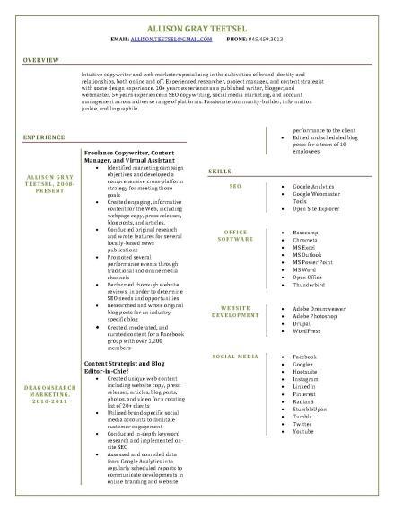 Resume for Allison Gray Teetsel